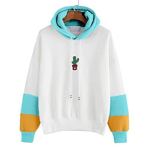 JUTOO Damen Langarm Kaktus Print Hoodie Sweatshirt Kapuzenpullover Tops Bluse(Himmelblau,EU:44/CN:L)