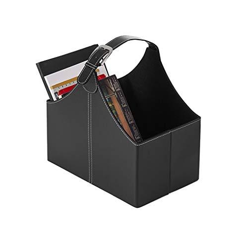 SMBYLL Panier de Rangement en Cuir pour Les Magazines de Bureau, Design Pliable pour Un Rangement Facile, Noir Boîte de Rangement