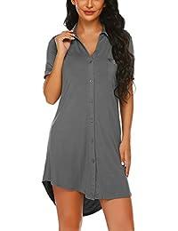 Damen Viktorianisch Nachthemd T-Shirt Nachtwäsche Pyjama Sommer Schlafanzugoberteile Knopfleiste Nachtwäsche V-Ausschnitt