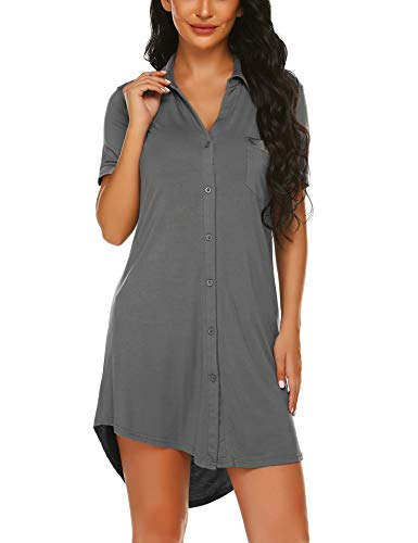 Avidlove Damen Viktorianisch Nachthemd T-shirt Luxus Nachtwäsche- Gr. L, Kurzarm 1: Grau