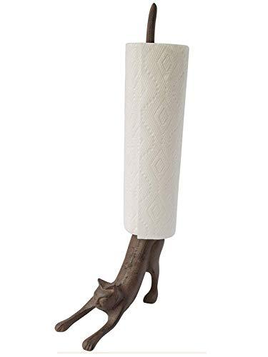 """Yoga Katze - Dekorativer Papierrollenhalter oder Toilettenpapierhalter - Bezaubernde""""Herabschauender Hund"""" Pose - Gusseisener Papierrollenständer"""
