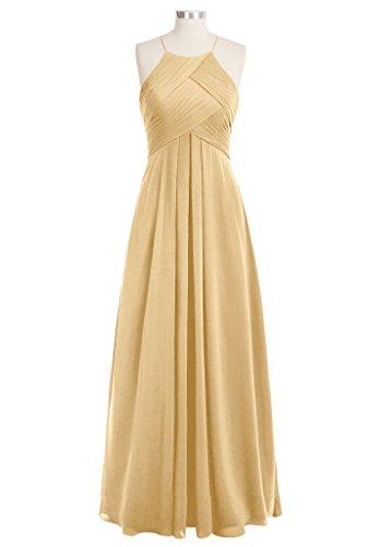 LuckyShe Elegantes gefaltetes Chiffon Fußboden Längen Abend Partei Kleid  der Frauen brautjungfernkleid Gold
