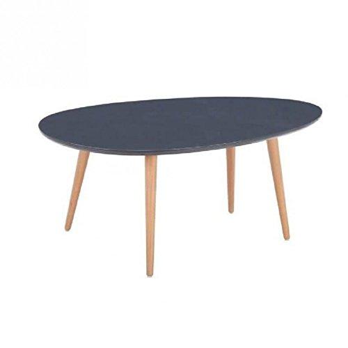STONE Table basse ovale scandinave gris laqué - L 98 x l 61 cm