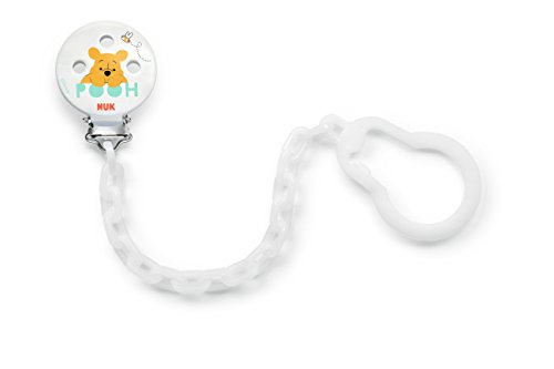 Welt Sicher (Nuk 10256449 Disney Winnie Schnullerkette, mit Clip zur sicheren Befestigung des Schnullers an Baby's Kleidung, 1 Stück, weiß)