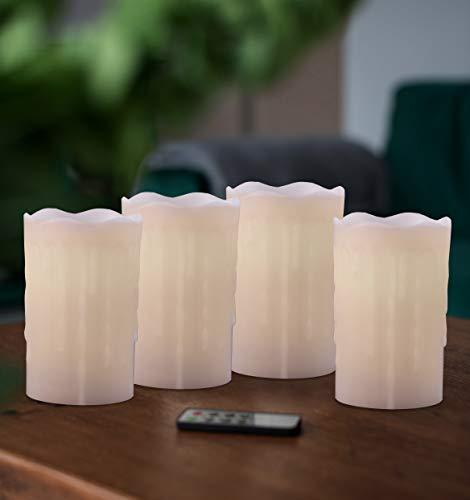 DecoKing 41697 4tlg 4 LED-Kerzen 12,5 cm mit beweglicher Flamme Wachs Fernbedienung Timer 4-teiliger Set batteriebetrieben innen außen