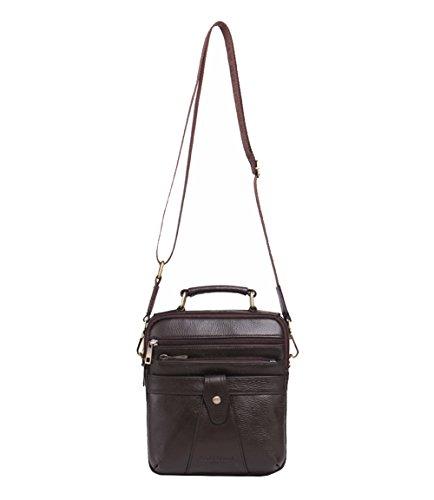 Genda 2Archer Uomini Piccola Impresa Della Borsa del Cuoio del Rilievo Messenger Bag (21cm*7cm*24.5cm) Caffè