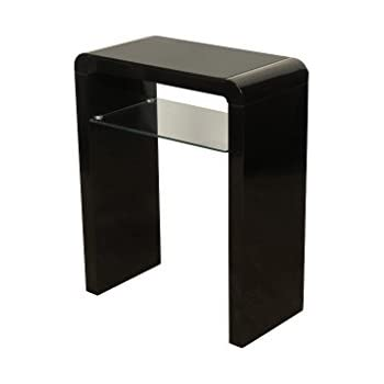 Atlanta Black Console Table With Shelf Black Hall Table for