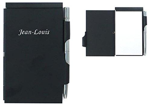 Notebook avec un stylo bleu. Prénom engravé: Jean-Louis (Noms/Prénoms)