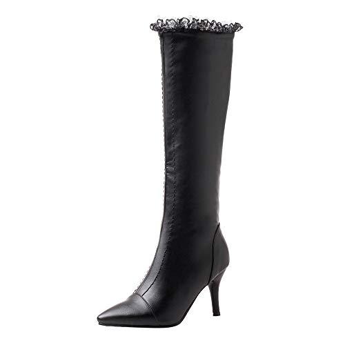 Bottes Bottines Femme, Manadlian Chaussures à Talon 5CM Boots Hiver Femme Cuir Bord de la Dentelle Classiques Escarpins