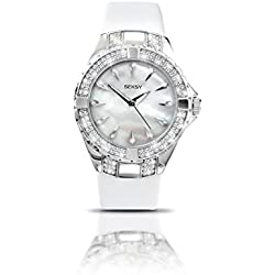 Seksy by Sekonda Intense Quartz Watch with Mother of Pearl Dial Analogue Display and White Leather Strap 4430.27