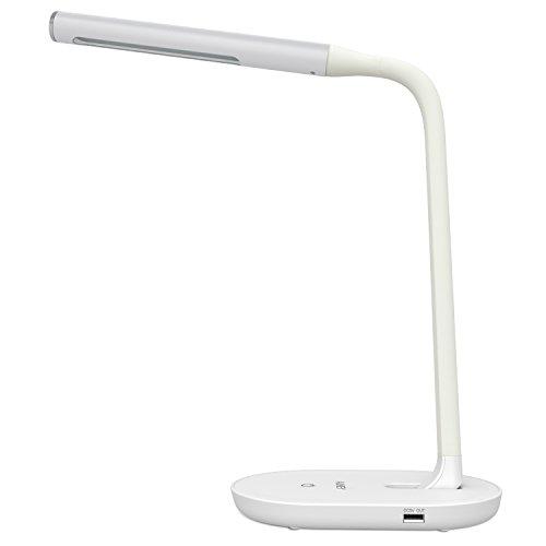 AUKEY LED Dimmbare Schreibtischleuchte Touch Control Schreibtischlampe Tageslicht 7W mit 2A USB Output zum Aufladen, 3 Stufen Helligkeiten (LT-T11,Weiß)