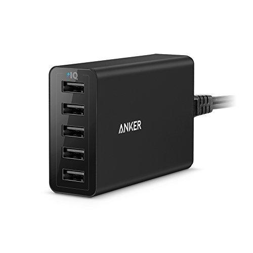 Anker PowerPort 40W 5-Port USB Ladegerät Multi-Port USB Ladegerät für iPhone 6/6 Plus, iPad Air 2/Mini 3, Galaxy S6/S6 Edge und Weitere (Schwarz)