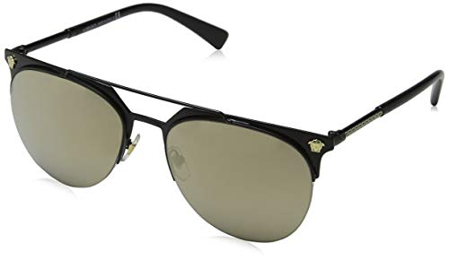 Versace Herren 0VE2181 12615A 57 Sonnenbrille, Schwarz (Matte Black/Lightbrownmirrorgold),