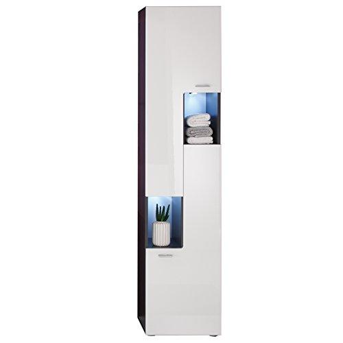 #trendteam smart living Badezimmer Hochschrank Schrank Tetis, 40 x 182 x 30 cm in Korpus Graphit ( Dunkelgrau), Front Hochglanz Weiß ohne Beleuchtung#