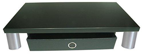 Monitorständer mit Schublade - Bildschirmständer Monitorerhöhung Schreibtischregal Ergonomisches Arbeiten mit PC und Mac. Holzart: (Schwarz)