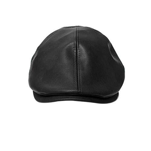 Lidahaotin Unisex koreanische Art und Weise britische Art-Leder-Casquette Barett-Hut Schirmmütze Ballon- Painter Cap schwarz