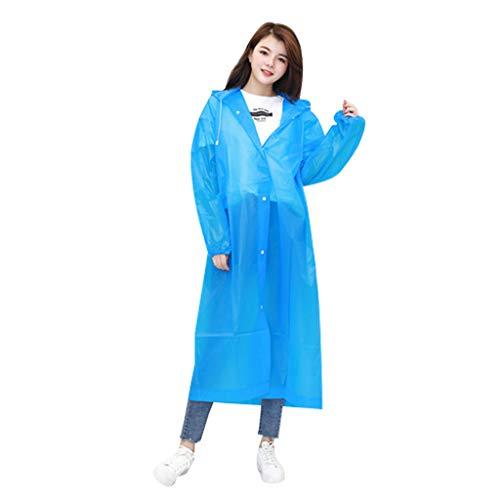 TwoCC-Wasserdichter, wasserdichter Einweg-Regenmantel von Eva für Männer und Frauen, Erwachsene, Blau