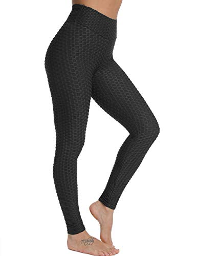 FITTOO Damen Sport Leggings Leggings Yoga Fitness Hose Lange Sporthose Stretch Workout Fitness Jogginghose,M,Schwarz