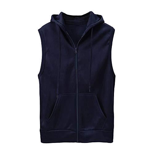 Btruely Herren Weste Slim Fit T-Shirt Männer Jacket Ärmellos Groß Größe Kapuzenweste Zipper Dünne Mantel Bluse Sommer Tanktop -