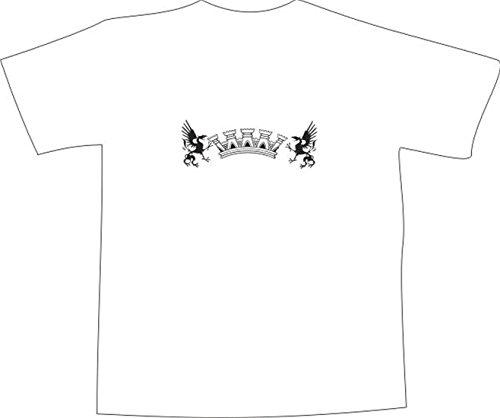 T-Shirt E389 Schönes T-Shirt mit farbigem Brustaufdruck - Logo / Grafik - minimalistisches Design - Schloß Mauer mit zwei Drachen Mehrfarbig