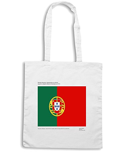 T-Shirtshock - Borsa Shopping TM0226 Portugal flag Bianco
