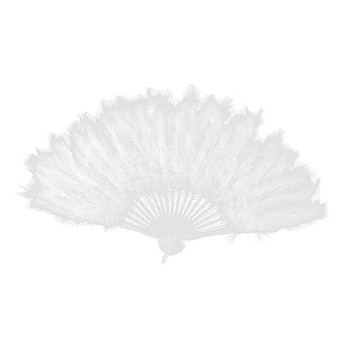 (P Prettyia Federfächer Spitzenfächer Handfächer 1920s Stil Faltbare Tanzen Fächer Nacht Party Hochzeit Kostüm - Weiß, 40cm x 25cm)