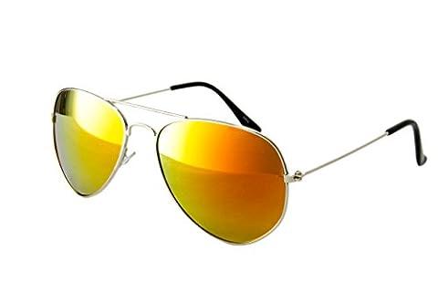 EL-Sunprotect® Pilotenbrille Fliegerbrille Sonnenbrille Brille Top Design Silber Gold Verspiegelt (Gold Grün Sonnenbrille)