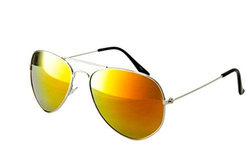 Nerd Sonnenbrille Wayfarer Stil Brille Pilotenbrille Vintage Look Piloten Silber Goldverspiegelt R25