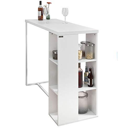 SoBuy Bancone Bar da casa Tavolo Cucina Altezza 105 cm,Bianco,FWT39-W