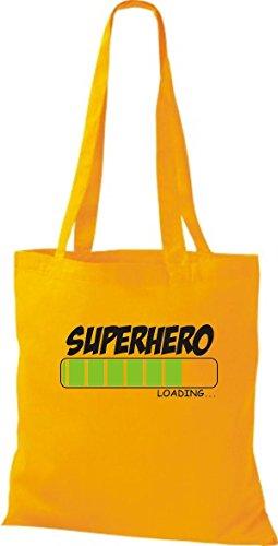 ShirtInStyle Stoffbeutel Baumwolltasche SUPERHERO Loading Farbe Pink goldgelb