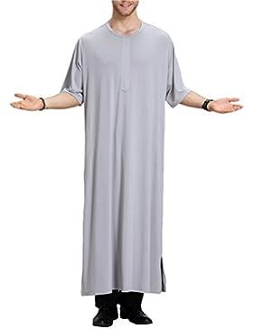 Zhhlinyuan Vestido árabe Mens Muslim Thobe Dishdasha Half Sleeve Crew Neck Robe Long Tops Shirt Arabic Dress Middle...