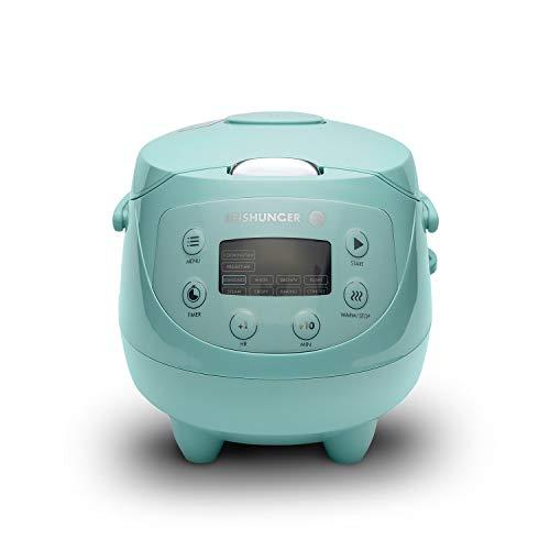 Digitaler Reishunger Mini Reiskocher (0,6l/350W/220V) Multikocher mit 8 Programmen, 7-Phasen-Technologie, Premium-Innentopf, Timer- und Warmhaltefunktion - Reis für bis zu 3 Personen (Mint)
