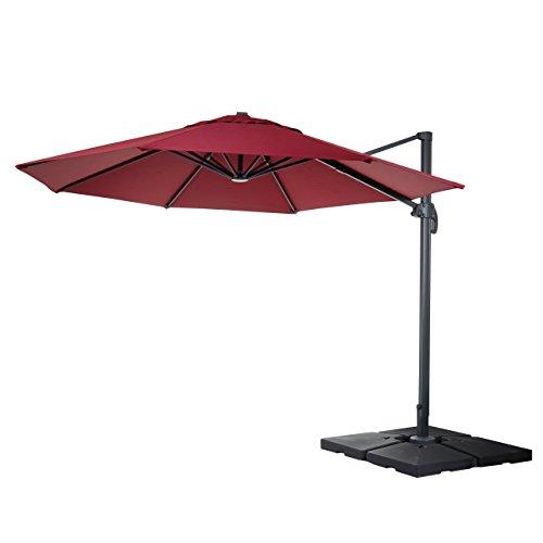 Gastronomie-Luxus-Ampelschirm Sonnenschirm N22, Ø 4m ~ bordeaux mit Ständer