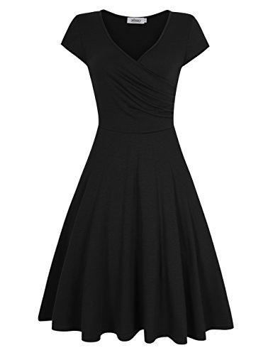 HiQueen Women Skater Dress Short Sleeve V Neck Flared Dress (2XL, Black)