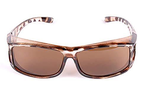 YJHW Modische Sonnenbrille, Die Über Eine Normale Brille Für Damen Passt. Ideal Zum Fahren, Radfahren, Sport,Brown