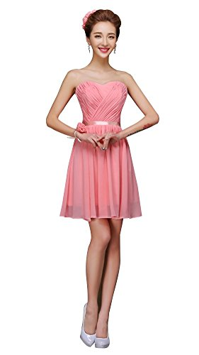 drasawee robe bustier courte en mousseline de soie robe de soirée Junior Homecoming robes Rose