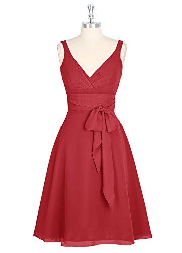 Dresstells, robe courte de demoiselle d'honneur avec nœud sans manches col en V Rouge Foncé