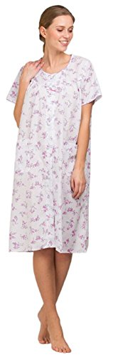 Signore Signora Olga Polycotton Short Sleeve Floreale Camicia da notte rosa o blu 10-32 Pink - Button Through