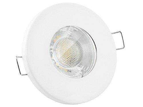 linovum® LED Einbaustrahler 6W flach IP65 weiß mit Wasserschutz für Bad, Dusche oder Außen inkl. GU10 Lampe warmweiß 2700K -