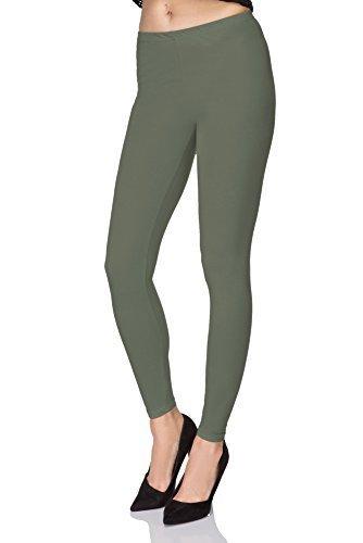 futuro fashion voller Länge Baumwolle Leggins alle Farben alle Größen aktiv-hose Sport Hosen - Khaki, 40 (Grün Khaki)
