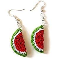 Orecchini anguria rossa pendenti frutta uncinetto fatto a mano gioielli regalo per lei estate natura