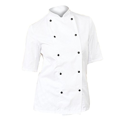 dennys-womens-ladies-lightweight-short-sleeve-chefs-jacket-chefswear-xs-white