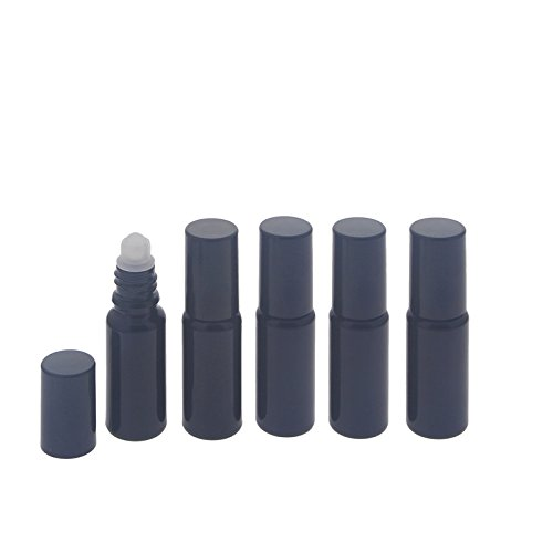 Violettglas Deostick 10ml, leere Flasche Violettes-Glas mit Deo-Roller Kappe Roll-on, Lichtschutz, Ø 24 mm, Kosmetex, 5 x 10ml