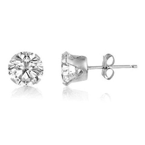 Bling para hombre 925 de plata de ley 8 mm redondas de diamante circonitas cúbicas (CZ) Juego de pendientes de tuerca - blanco/transparente - estilo Beckham