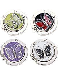 Schmetterlings-tisch-set (FOME Handtasche Aufhänger, Set von 4Faltbare Taschenhaken Geldbörse Tisch Haken Halterung Schmetterling Form Tasche Kleiderbügel Haken 4,5x 9cm Gemischt Farbe 1.77x3.54in Butterfly Shape)