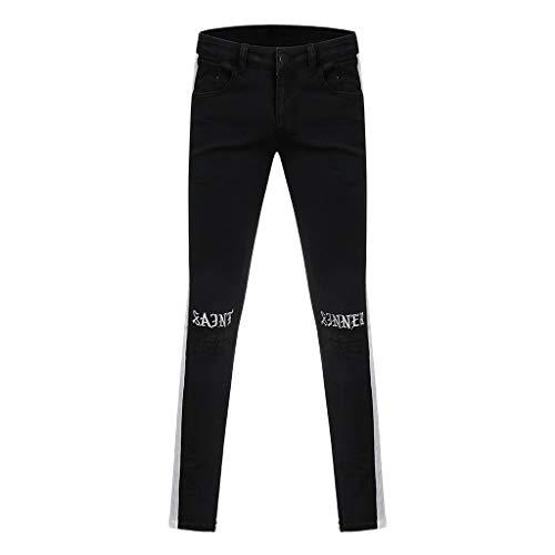 CAOQAO Pantaloncini da Uomo Pantaloncini Jeans/Moda Uomo Casual Stitching Stripe Hole Pantaloni Ricamati Piedi Zipper Midline Skinny Jeans/Nero/S-3XL