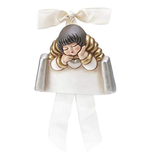 Thun® - angelo piccolo da parete con targetta personalizzabile - formella con fiocco bianco - ceramica - linea i classici