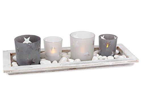 Set paysage de Noël Plateau en bois et quatres photophores en verre et des petites pierres blanches décoratives (Alsino 960097) représentant un paysage de Noël, idéal pour la décoration de votre table