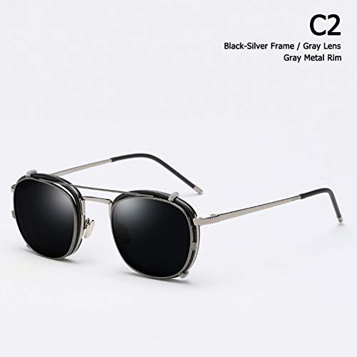 Taiyangcheng Objektiv abnehmbare polarisierte Luftfahrt Sonnenbrillen Clip auf Sonnenbrille,C2