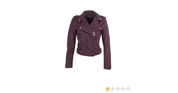 Glam /& Gloria Giacca da donna in finta pelle colore: viola stile biker